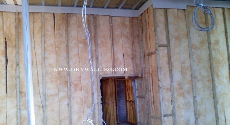 Преградни стени гипсолартон  от дървена конструкция